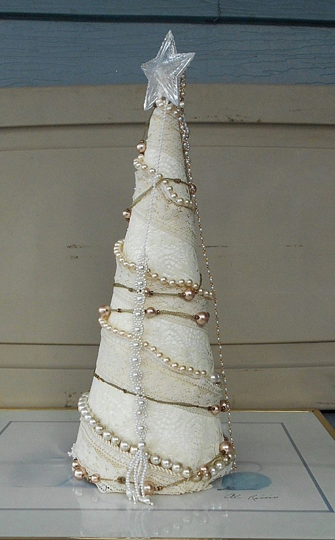 Handmade White Lace & Faux Pearl Tabletop Christmas Tree