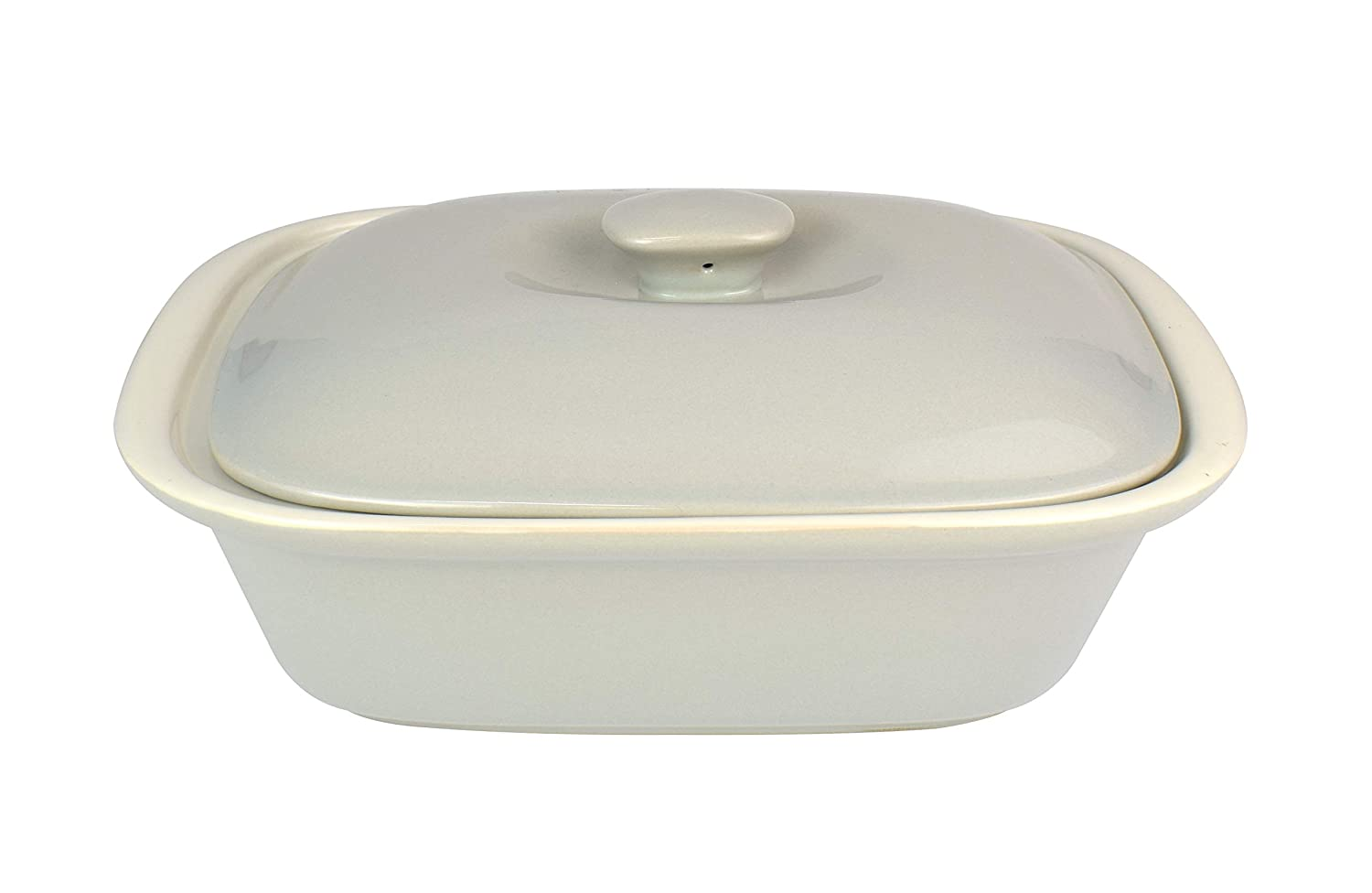 """Le Regalo HW1232 Stoneware Rectangular Bakeware Dish with Lid, 10.5""""x7.5""""x3"""" Off-White"""