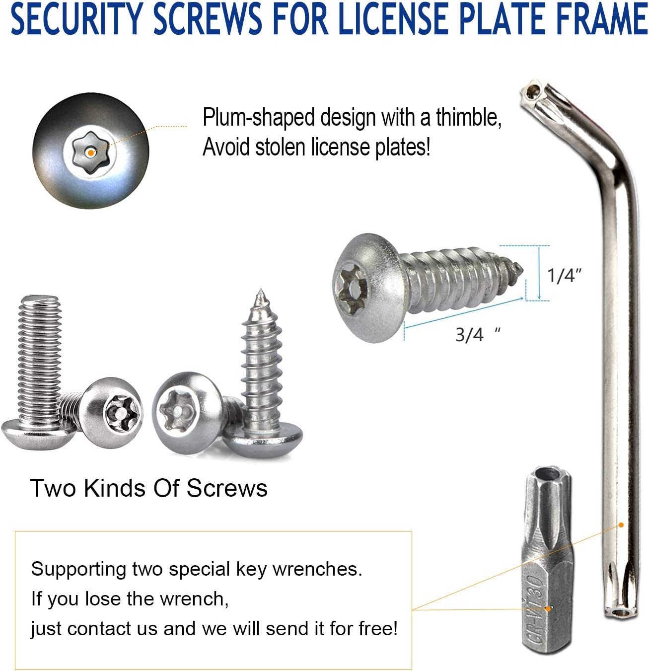 Anti Theft License Plate Screws- Stainless Steel Bolts Fasteners Kits Lock Car Tag Frame Holder Security Screw Set,Rust Proof,Chrome Screw Caps Cover M6 Tamper Resistant Mounting Hardware,1//4