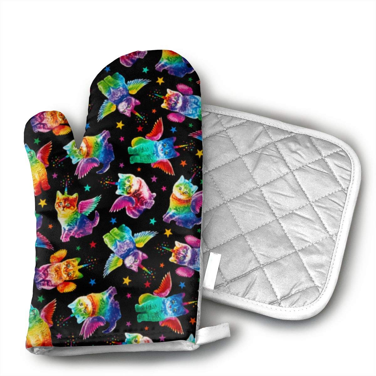 Ydsgjds Rainbow Unicorn Cats Black Oven Mitts and BBQ Gloves Pot Holders, Heat Resistant Mitts for Finger Hand Wrist Protection with Inner Lining