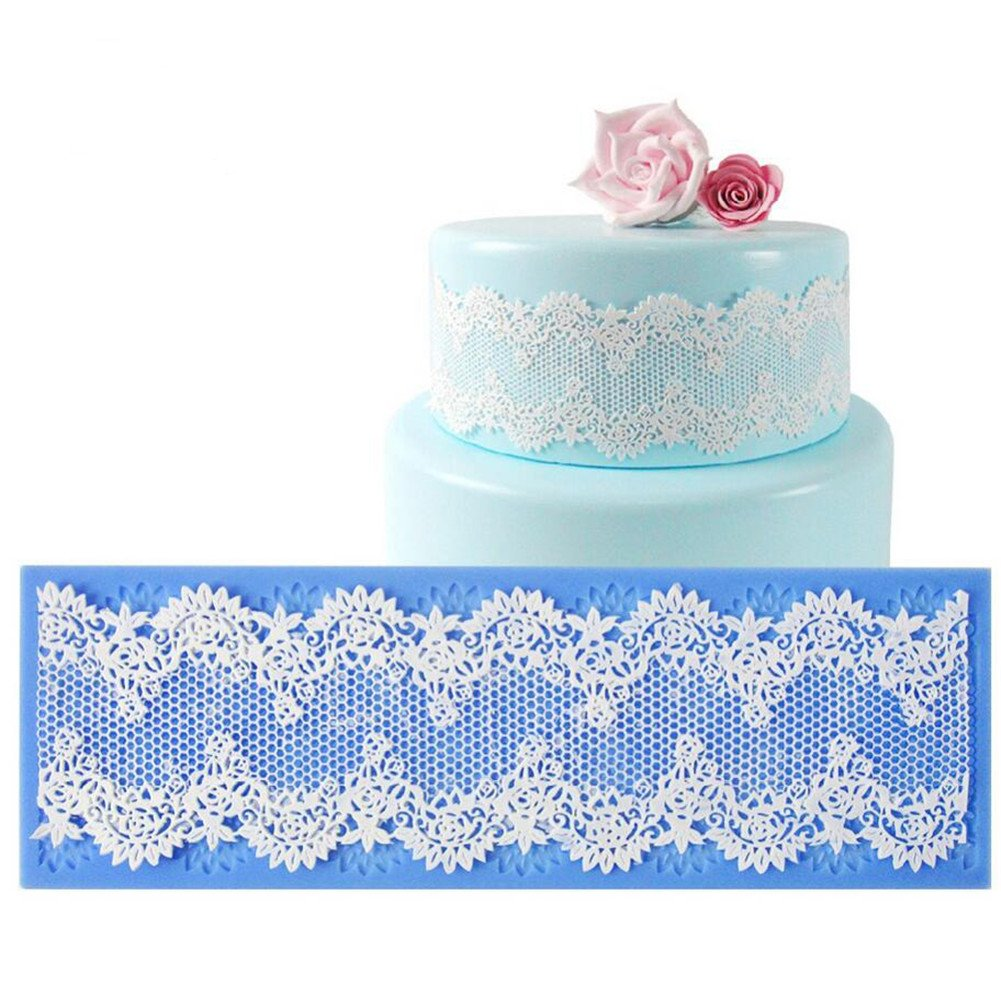 AVK Cobweb of Flower Lace Silicone Mat Cake Border Mould Decoration Fondant Cake Lace Mold Baking Mat Bakeware Pad Tool Kitchen Baking Accessory - 32x10cm VALINK LEPTS1470