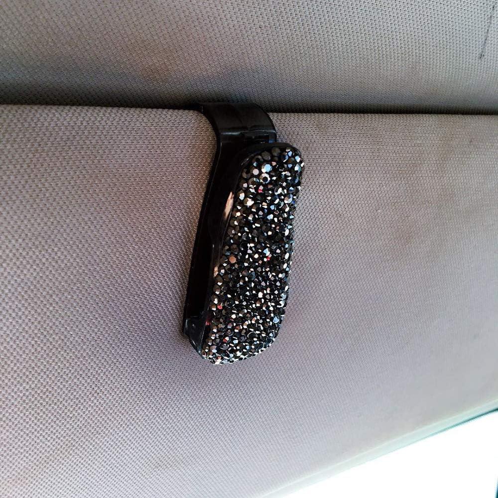 Kmoon Bling Sunglasses Holder Clip Diamond Rhinestone Shining Car Visor Sunglasses Clip Holder Black