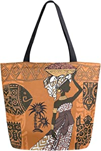ZzWwR Beautiful Black Woman African Ornaments Pattern Extra Large Canvas Beach Travel Reusable Grocery Shopping Tote Bag Portable Storage HandBag