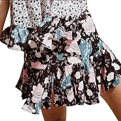 505e1b8e2 Women's Casual Mini Beach Skirt Summer Floral Printed Pleated A-line Ruffle  Short Skirts at Amazon Women's Clothing store: