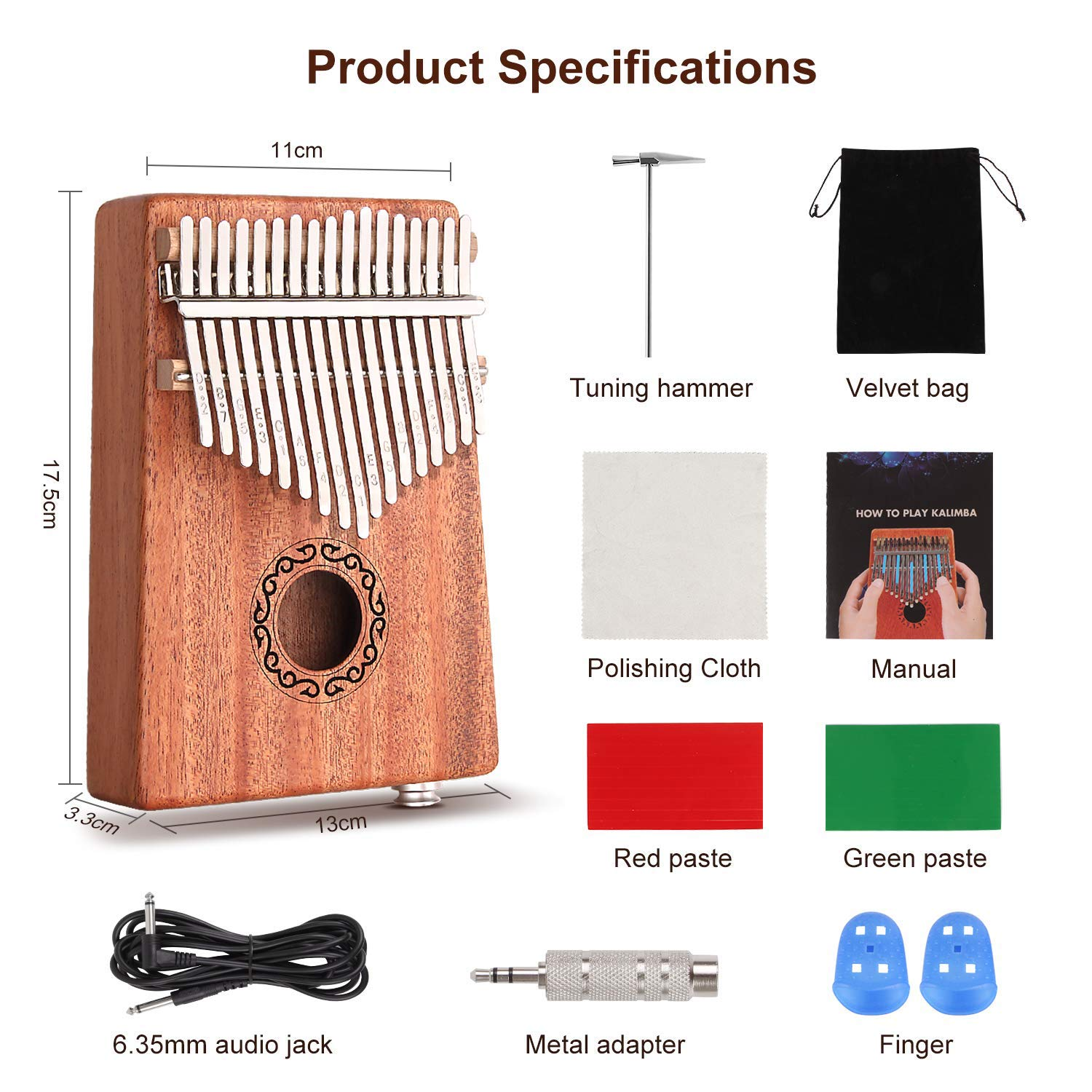 CXhome Electric Kalimba 17 Key Thumb Piano,Mbira African Mahogany Finger Piano Pickup with 6.35mm Audio Interface Sanza Hand Kit, Likembe Musical Instruments for beginners or professioners by CXhome (Image #5)