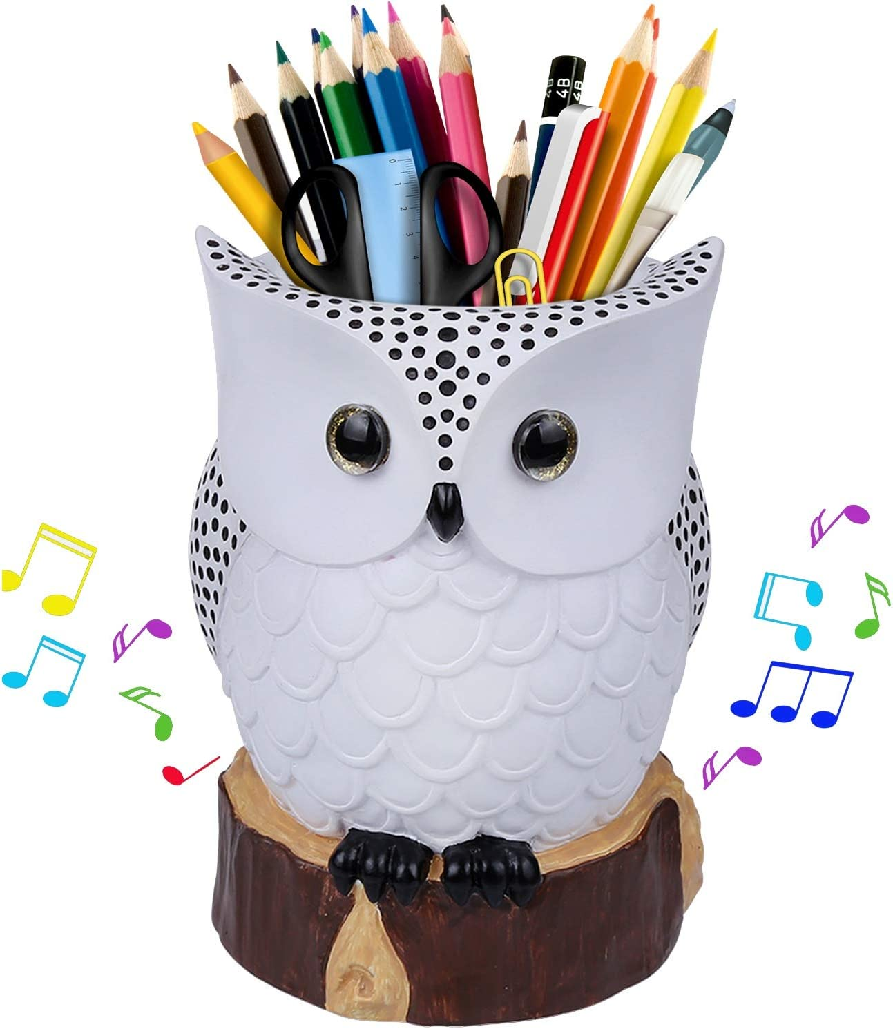 J JHOUSELIFESTYLE Owl Pen Holder, Pencil Holder with Music Box Function, Great Desk Organizer for Pens, Colored Pencils Markers, Paint Brushes, Unique Owl Gifts for Owl Lovers (White)
