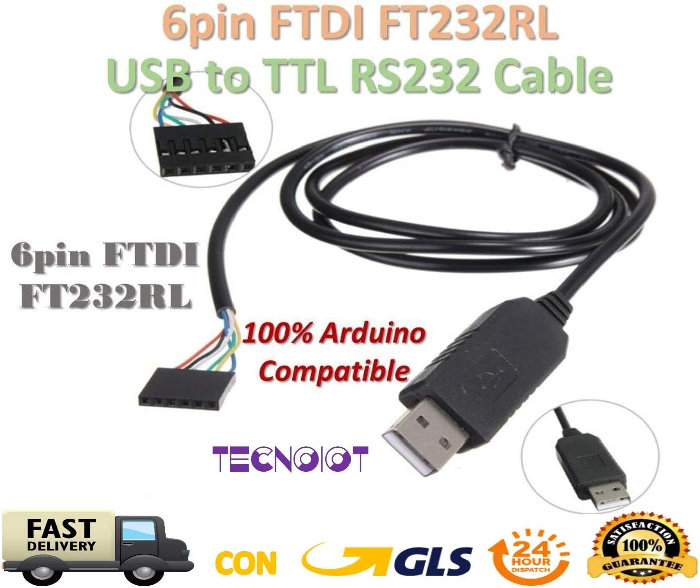 TECNOIOT 6Pin FTDI FT232RL USB To Serial Adapter Module USB TO TTL RS232 Cable