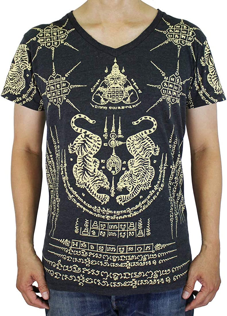 Work Thai Tattoo Sak Yant Tiger Native Amulet T-Shirt Black / WK06.2 Size XL
