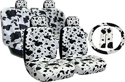New Premium Grade 11 Pieces Cow Print Low Back Front Car Seat And Rear Bench Cover