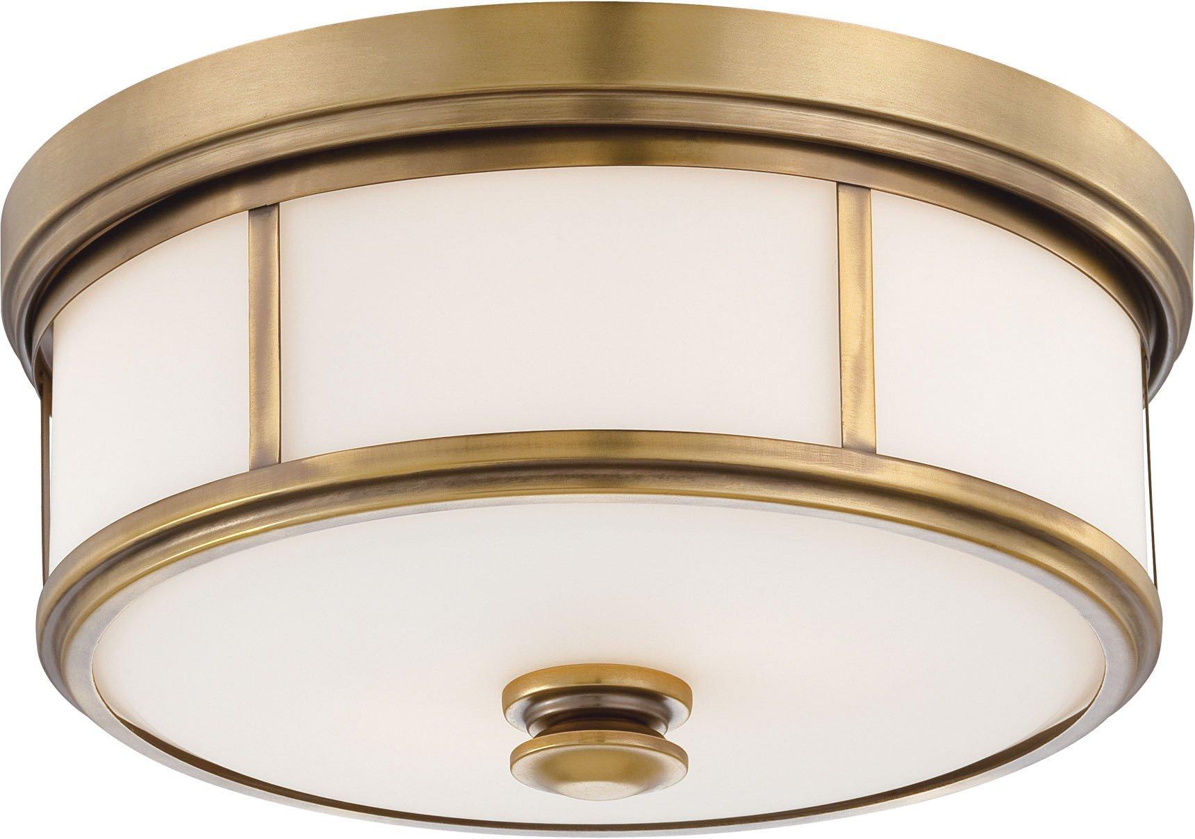 Minka Lavery Harbour Point 4365-249 2 Light 120 watt (6''H x 13''W) Glass Flush Mountin Brass