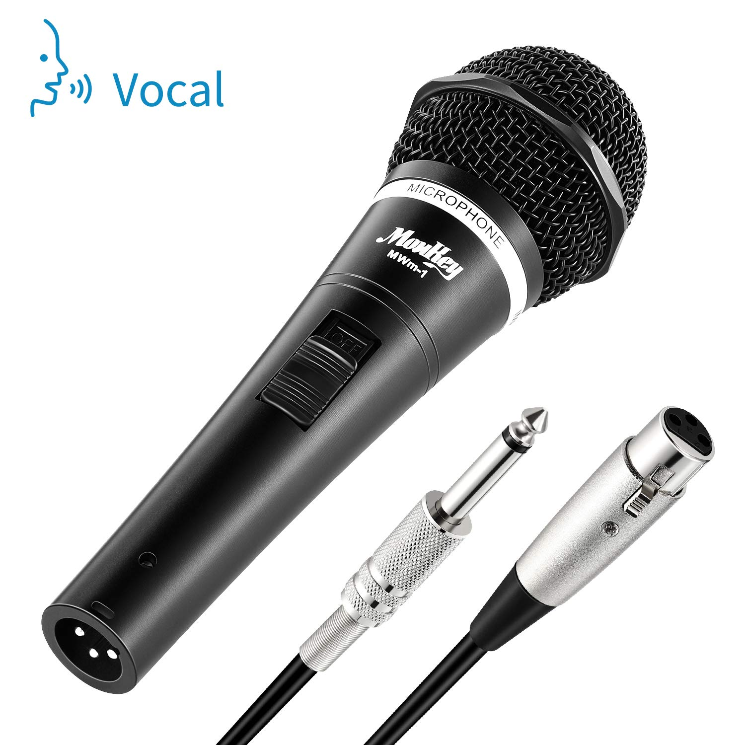 Moukey MWm-1 Dynamic Vocal Microphone Wired Handheld Karaoke Mic for Singing, Karaoke Machine, Live with 16.40 ft XLR Detachable Cable by Moukey