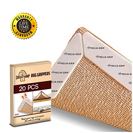 2-Inch x 10 Yards -Perfect Set for Area Rugs Outdoor Rugs Carpets Rug Grippers 12 Pcs Large Size Anti Curling and Non-Slip-with Double-Sided Extra Thick Rug Tape
