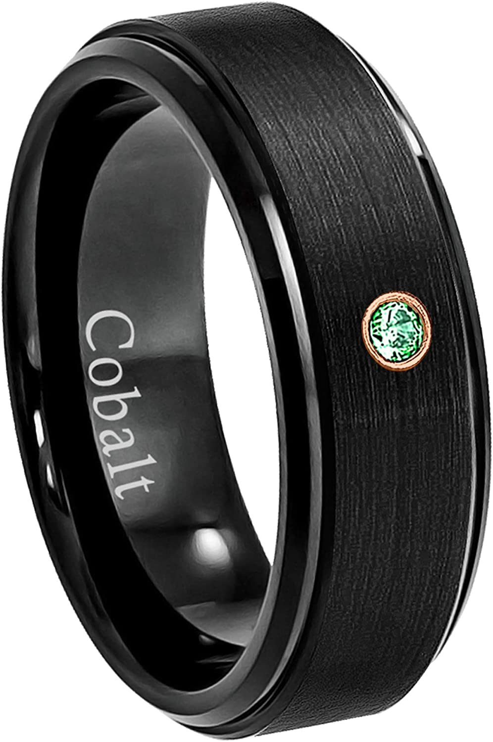 May Birthstone Ring Jewelry Avalanche 8MM Comfort Fit Brushed Black Ion Stepped Edge Mens Cobalt Chrome Wedding Band 0.07ct Emerald Cobalt Ring