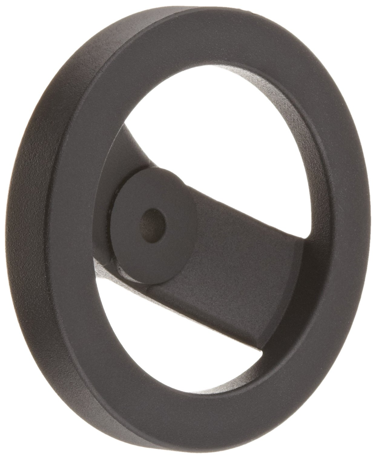 2 Spoked Black Powder Coated Aluminum Dished Hand Wheel without Handle, 5'' Diameter, 3/8'' Hole Diameter (Pack of 1)