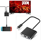 Type C to HDMI Adapter for Nintendo Switch, MoKo 3 in 1 HDMI & USB & Type-C Mini Converter Cable Dock for Nintendo Switch - Black