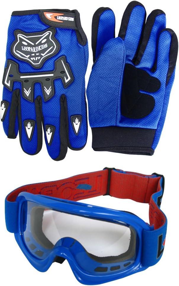 Occhiali Blu Guanti Casco/&Guanti L Tuta da Motocross per Bambini 3-4 Anni Leopard LEO-X15 Casco da Motocross per Bambini Completo da Uomo XS