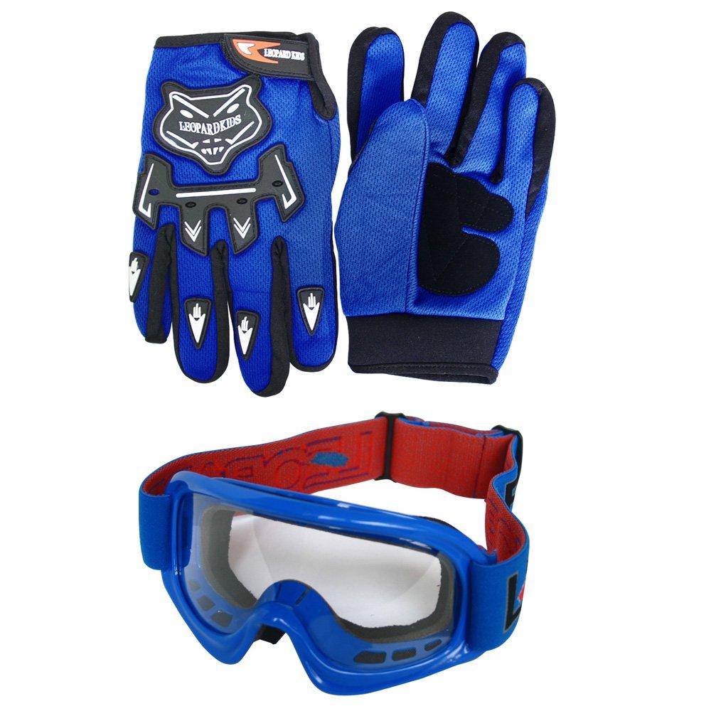 + Camo Traje de Motocross para Ni/ños + Gafas Leopard LEO-X16 Azul Casco de Motocross para Ni/ños XL 8cm XL 55cm XL Guantes 11-12 A/ños