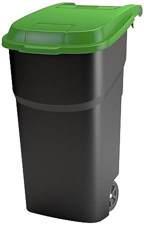 Rotho Basura con Tapa y Ruedas de plástico PP, residuos/Roll Cubo, 100 L: Amazon.es: Hogar
