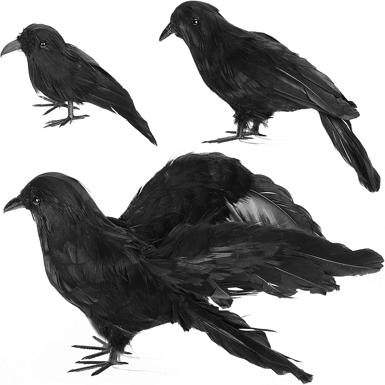 GABOSS Halloween Decorations Realistic 3 PCS Birds Black Feathered Crows - Halloween Ravens Prop Décor,Outdoor or Indoor Decoration Supplies