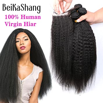 Amazon Com Beikashang Peruvian Virgin Hair Kinky Straight Hair