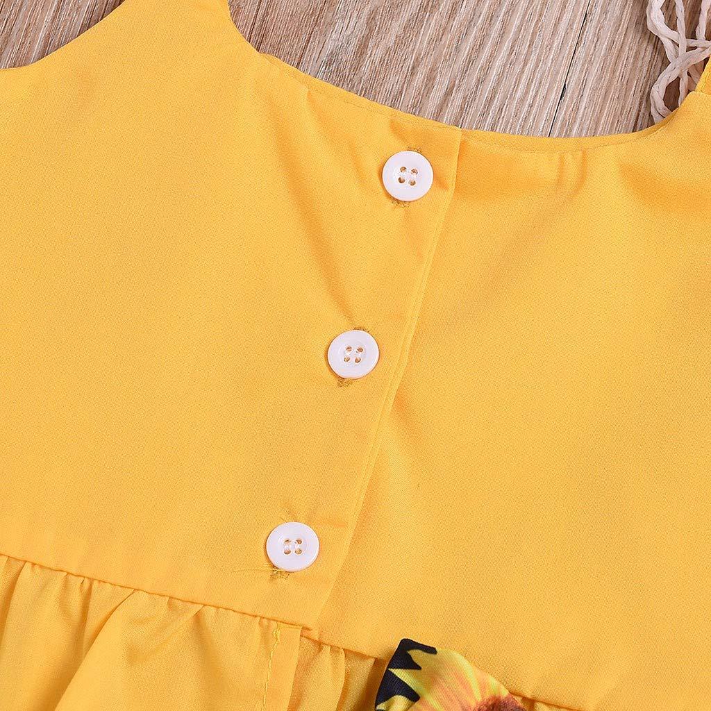 0-4 Anni Completo Neonata Bambina 2 Pezzi Set Fionda Canotta Maglietta Shirt Tinta Unita Giallo Cotone Tuta Ragazza Ragazze Top Happy Tute Bimba Bambine Estate Pantaloncini Stampa Girasole