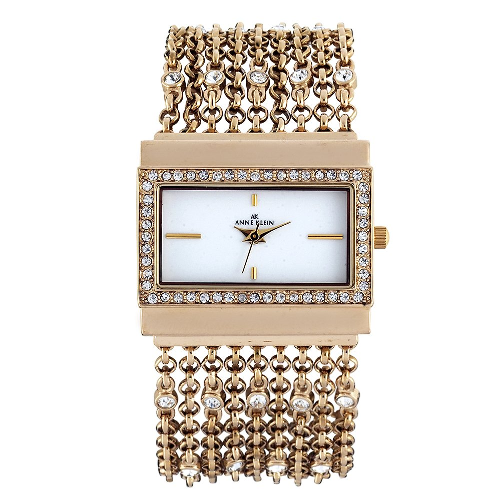 Anne Klein Women's 109706WTGB Swarovski Crystal Gold-Tone Rectangular Shape Chain Bracelet Watch