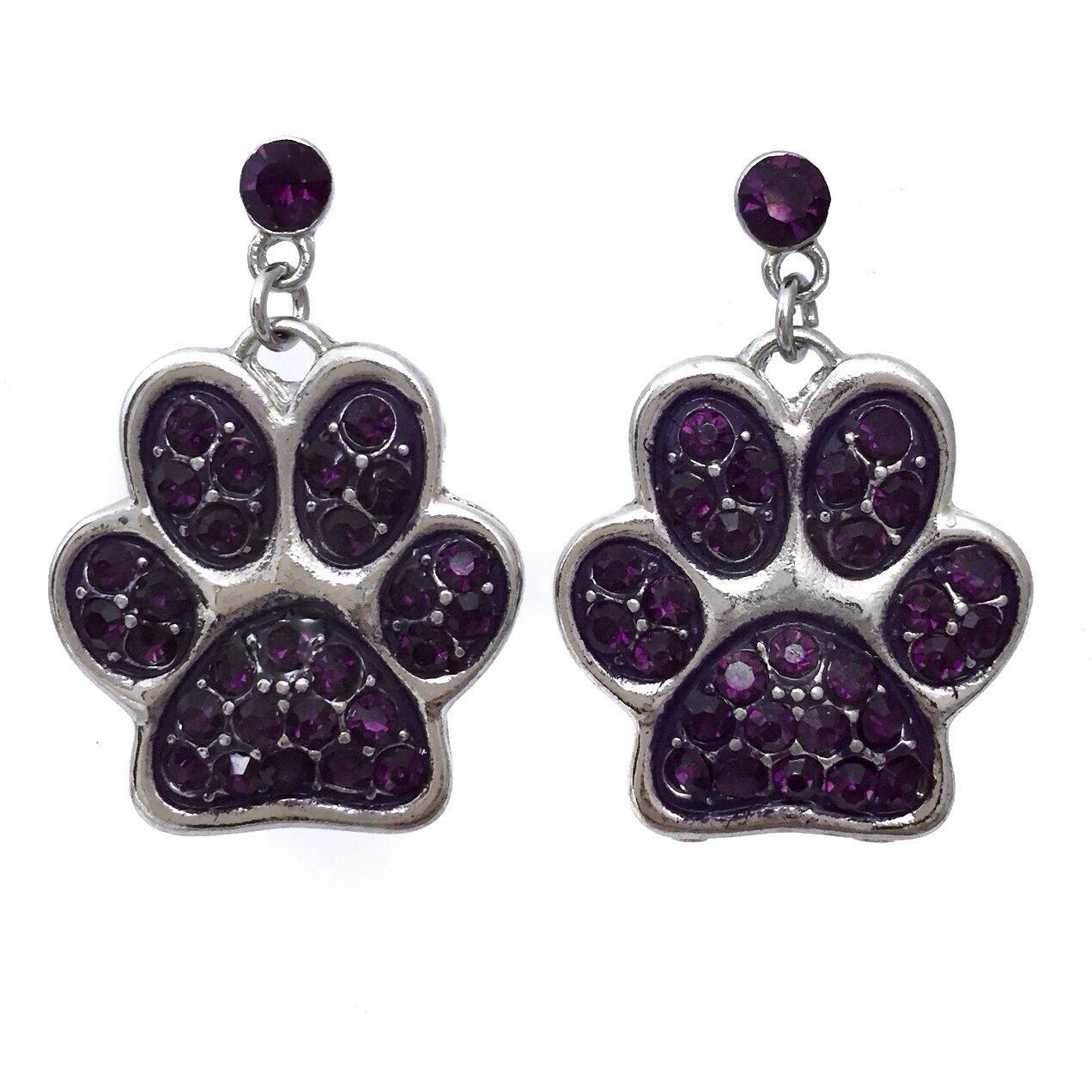 Purple Paw Print Rhinestone Dangle Post Bling Earrings - LSU
