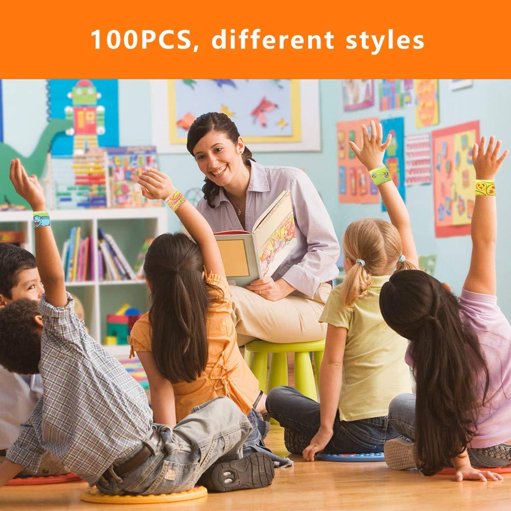 E-More 100 pcs Colorido Slap Pulsera,Snap Pulsera,Pulseras de bofetada,Banda de Pulsera,Hermoso Regalo cumplea/ños para ni/ños Colorido Pulseras,Juguetes