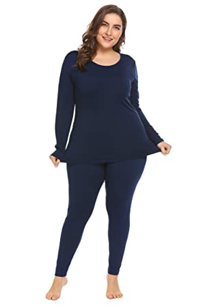c215ae597e5e Women's Plus Size Thermal Long Johns Sets Fleece Lined 2 Pcs Underwear Top  & Bottom Pajama