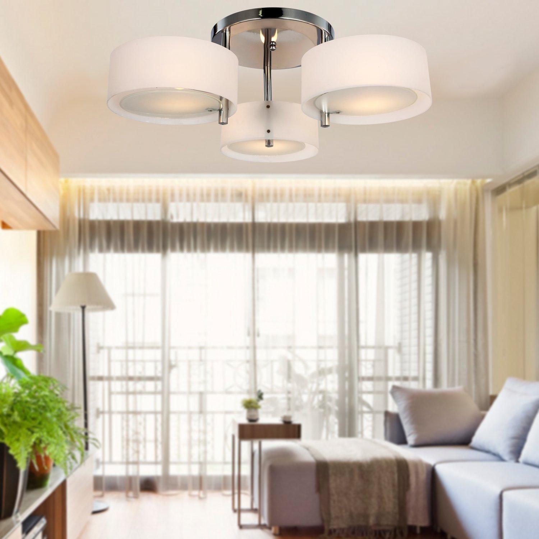 ALFROT® Moderne Acryl Kronleuchter mit 3 Lampen, Ebene Einfassung für Studienraum / Büro, Schlafzimmer, Wohnzimmer (verchromt)
