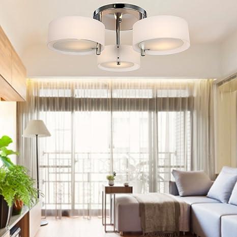 ALFRED® Lampadario moderno in acrilico in cromo con 3 lampadine ...