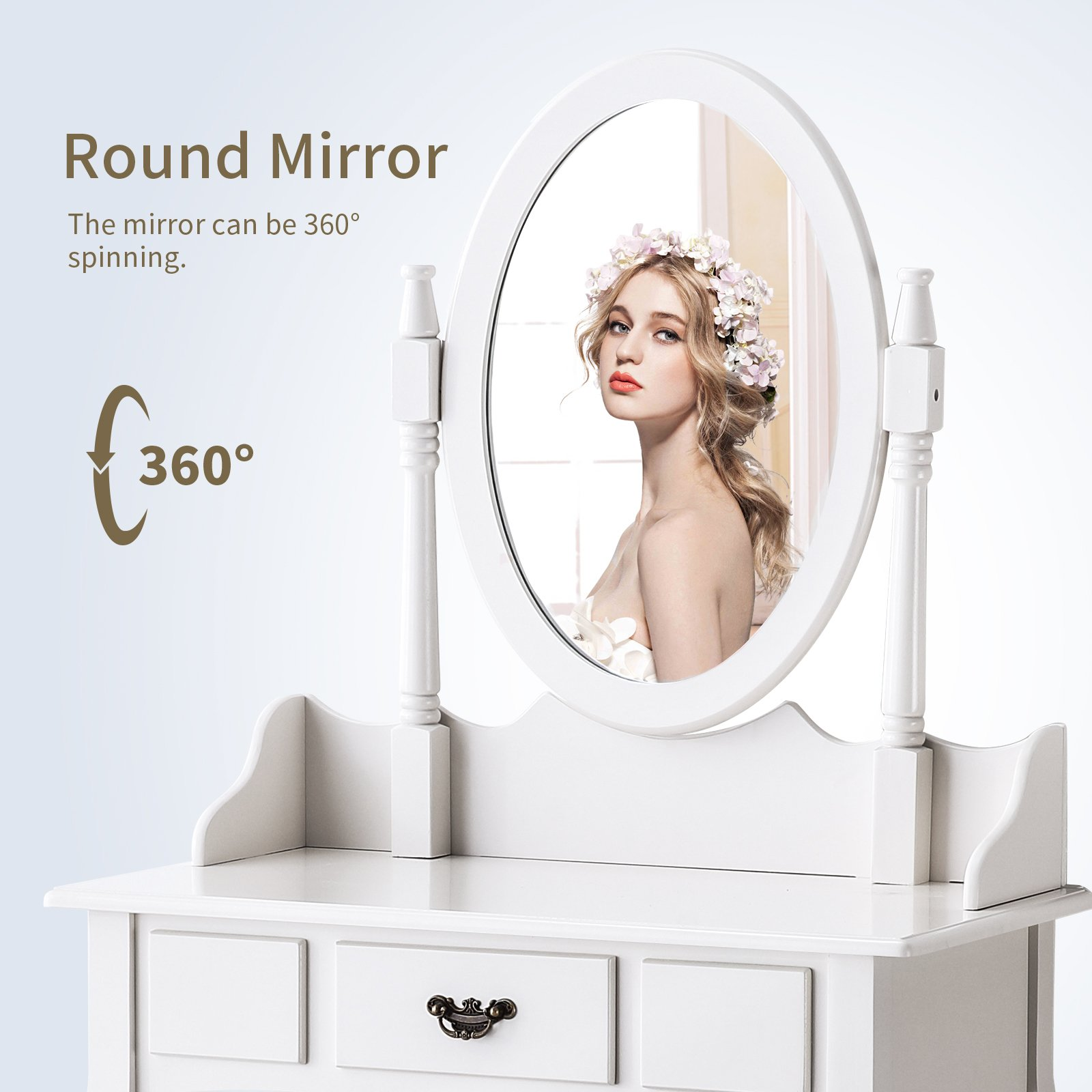 Mecor Vanity Makeup Table Set Dressing Table with Stool and Oval Mirror,White by Mecor (Image #4)