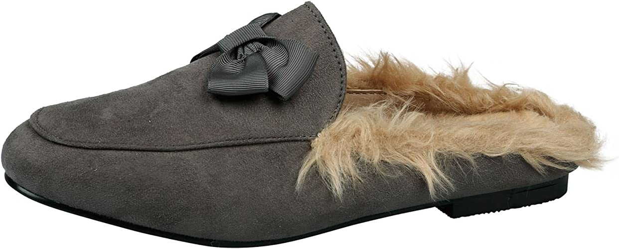 Dorothy Womens Flats Slip On Backless Loafers Ladies Shoes Mules Faux Fur Size