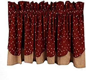 Home Collection by Raghu Salem Star Fairfield Valance, 72 by 15.5-Inch, Barn Red/Nutmeg