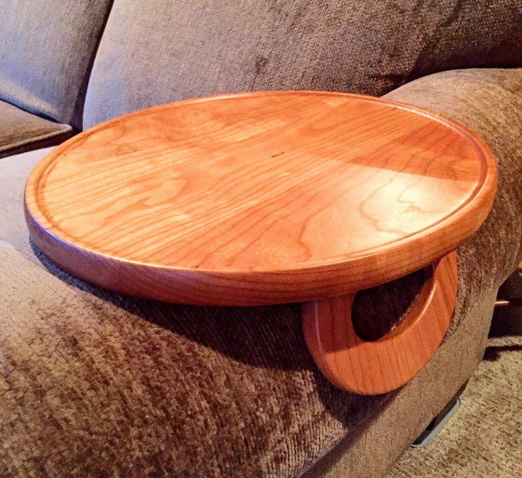 Sofa Arm Snack Tray Table --- Cherry (Round)