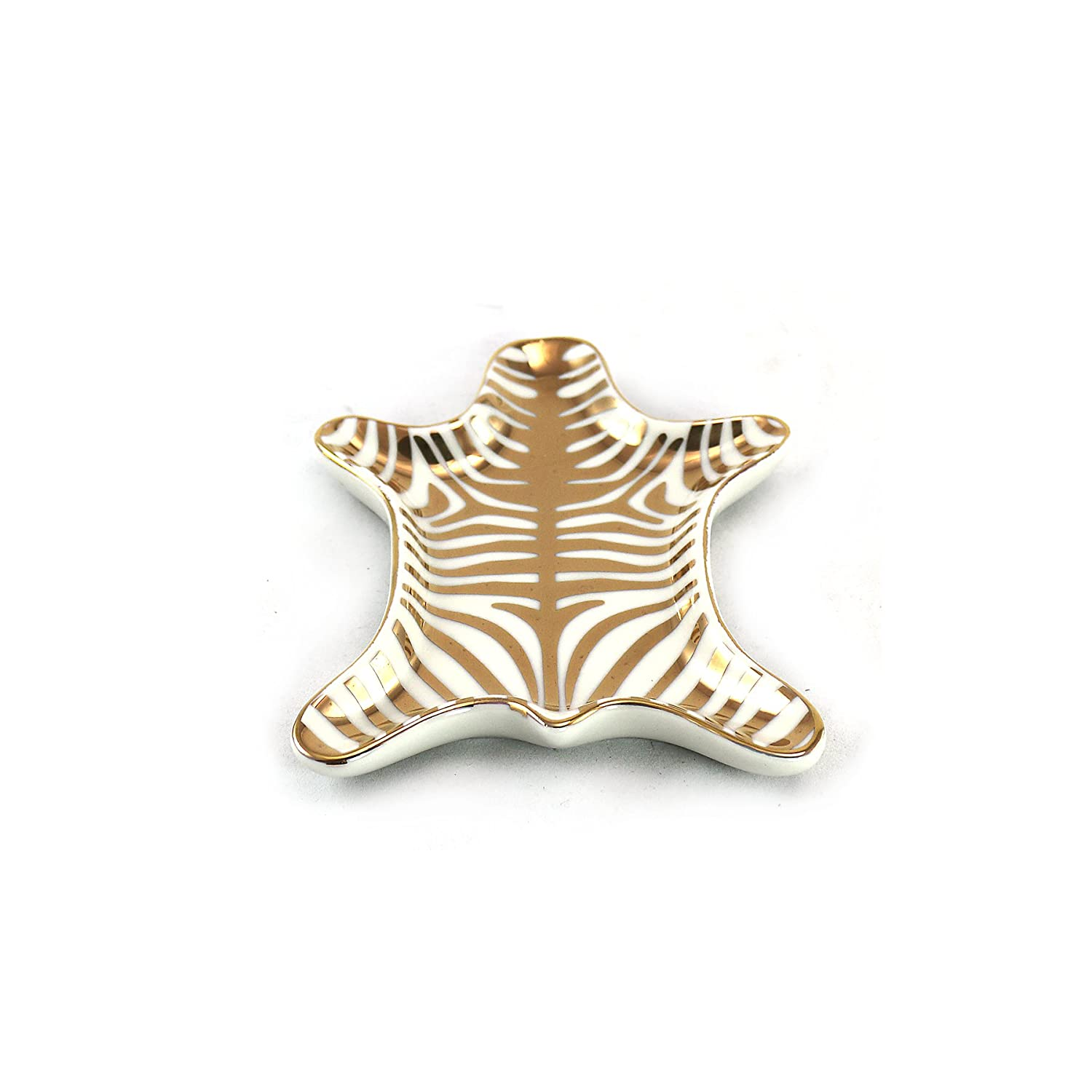 Stylish Gold and White Zebra Skin Ring Holder Unison Gifts