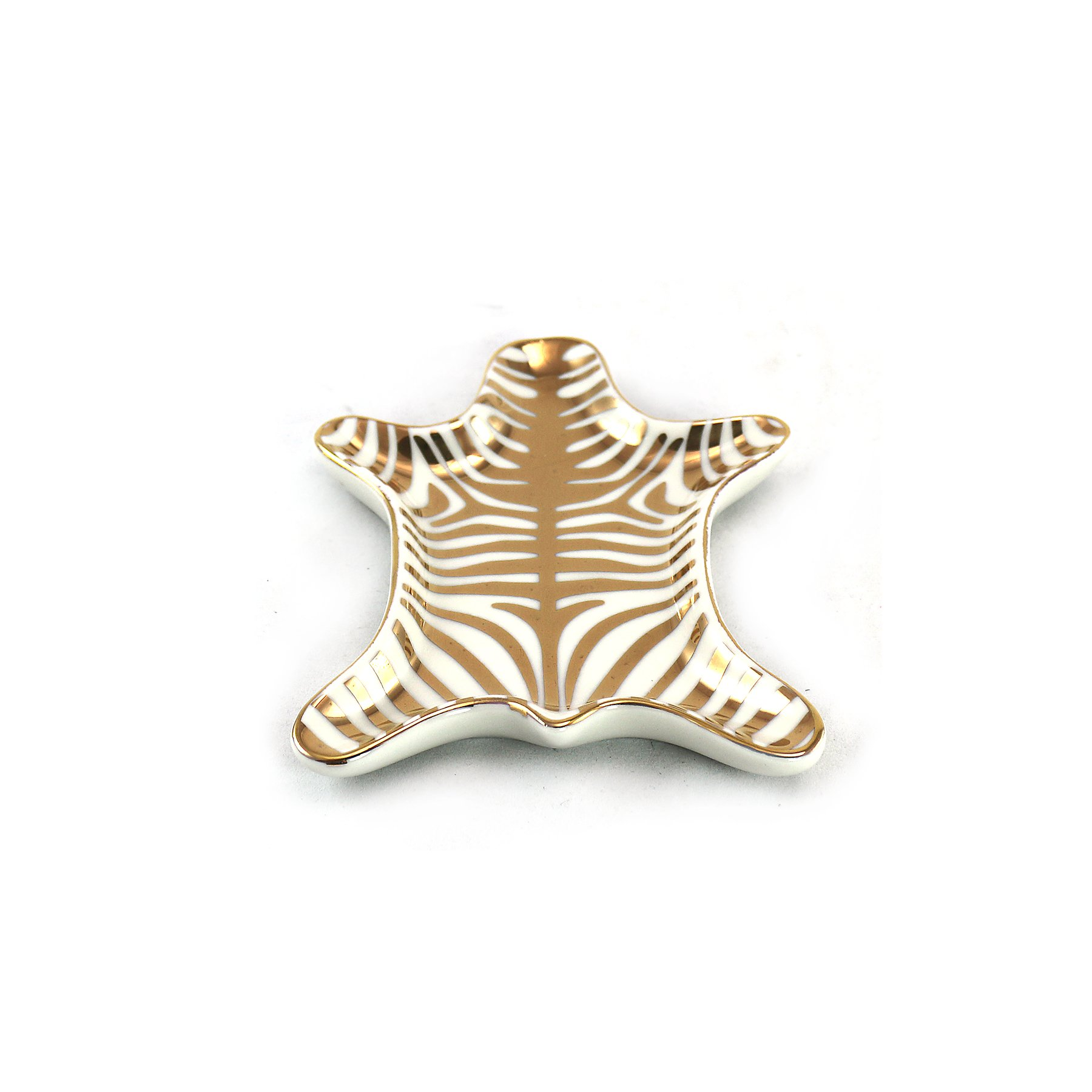 Stylish Gold and White Zebra Skin Ring Holder by WonderMolly