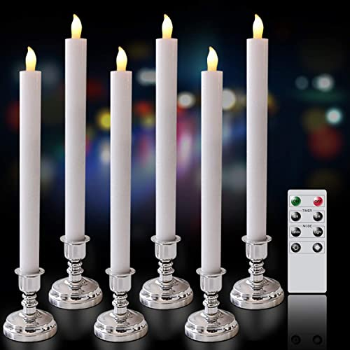 Eldnacele Flameless Window Candles with Remote Timer, Flickering Battery Operated White LED Taper Candles Pack of 6, Real Wax with Silver Holders for Dinning Wedding Party Decoration