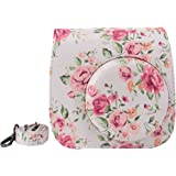 Elvam White Flower Floral PU Leather Fujifilm Instax Mini 9 / Mini 8 / Mini 8+ Instant Film Camera Case Bag w/ a Removable Bag Strap