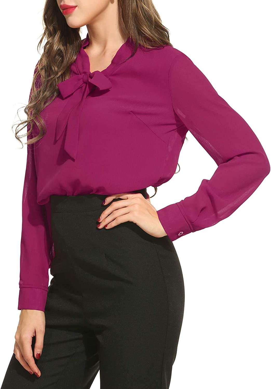 ACEVOG Womens Bow Tie Neck Long//Short Sleeve Casual Office Work Chiffon Blouse Shirts Tops