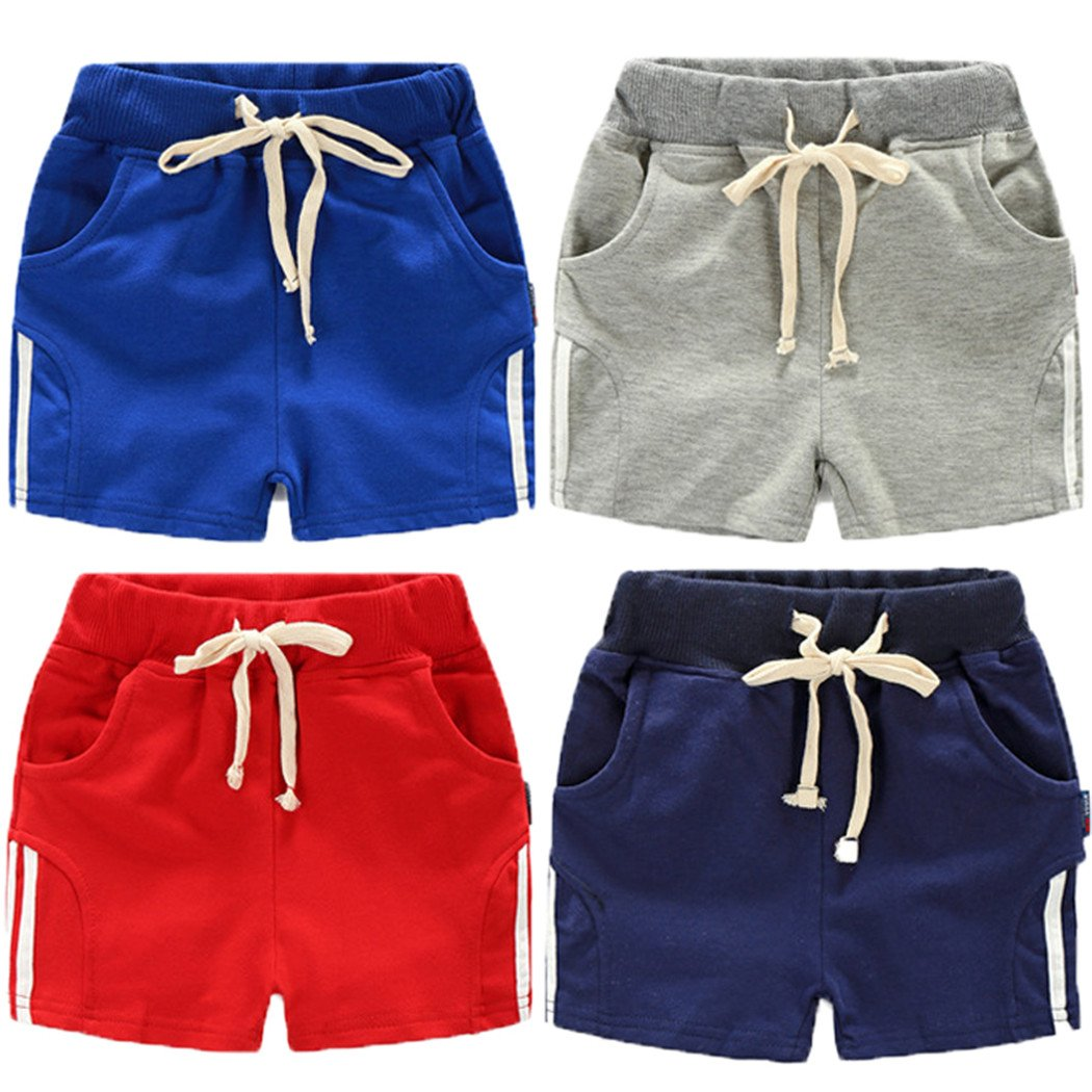 REWANGOING Baby Kid Little Boy Solid Color Casual Sport Drawstring Summer Short Pants