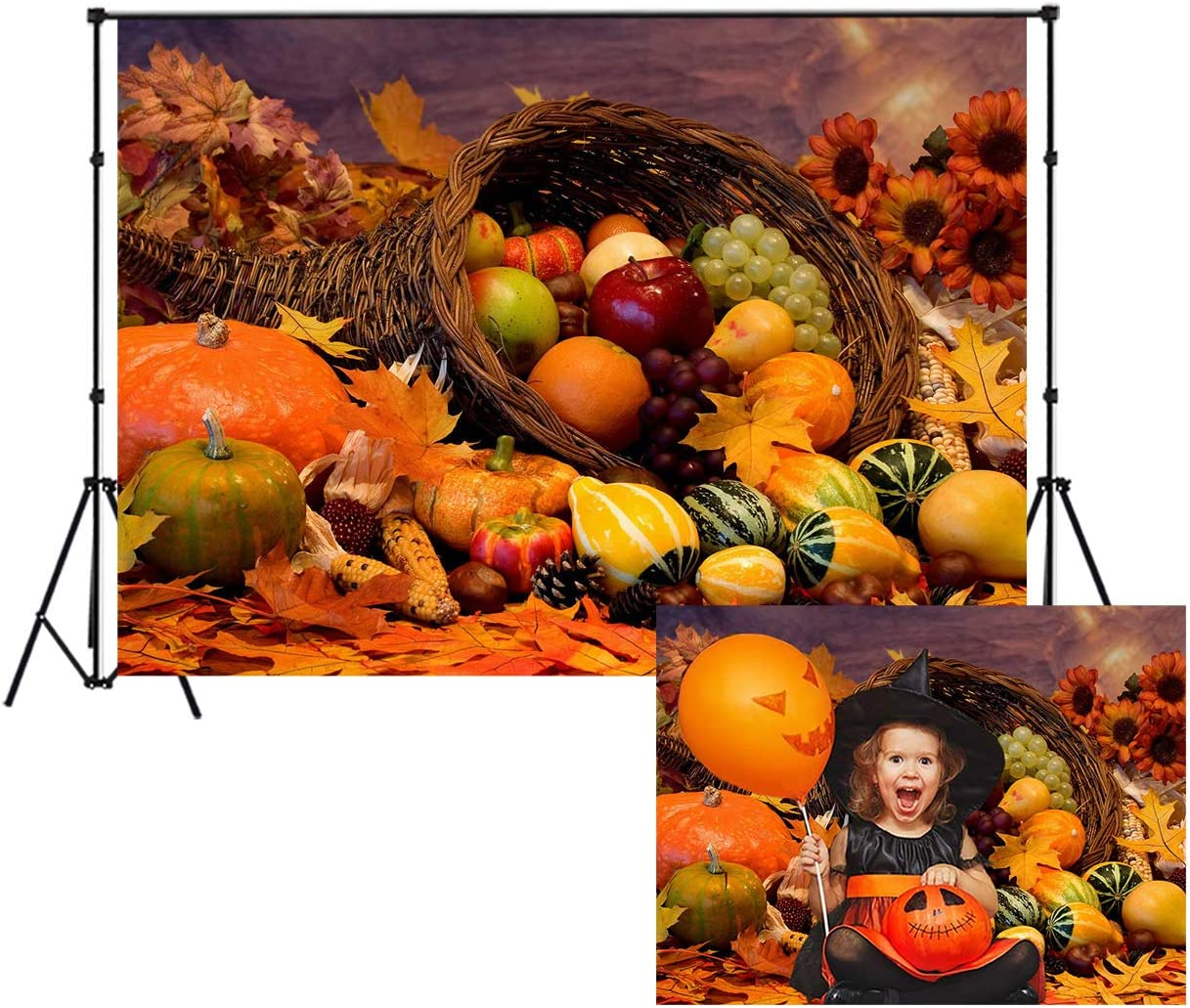 LB Rustic Farm Thanksgiving Backdrop for Photography 9x6ft Fall Harvest Pumpkin Photo Backdrop for Party Event Customized Photo Background Studio Props,Seamless Washable