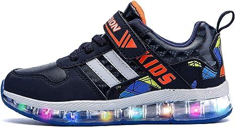 GNEDIAE Zapatillas LED Carga USB 7 Colores Flash Unisex de Tenis Niña Unisex Zapatillas Bajas Luces con Color Flash, YDB1715, 1715 Blue Bianco, 34 EU: Amazon.es: Deportes y aire libre