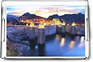 Boulder, Nevada - View of the Hoover Dam at Night with Lights On A-9013182 (Acrylic Serving Tray)