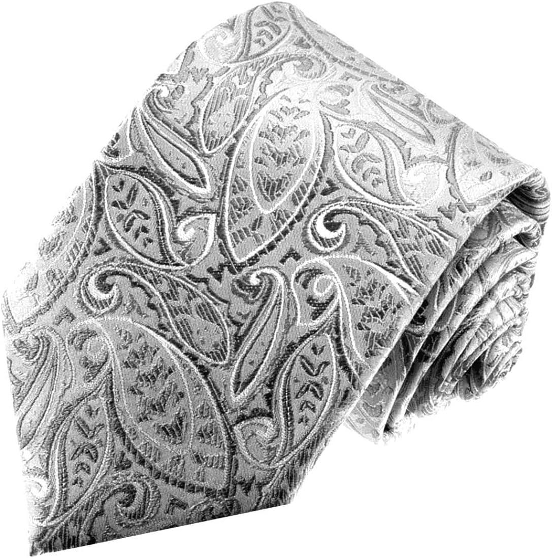 LORENZO CANA – Plata Plata Gris marcas corbata de 100% seda con ...