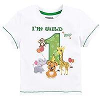 1er Camiseta Cumpleaños Bebé Niño Animales de Selva Cumpleaño Manga Corta Tops