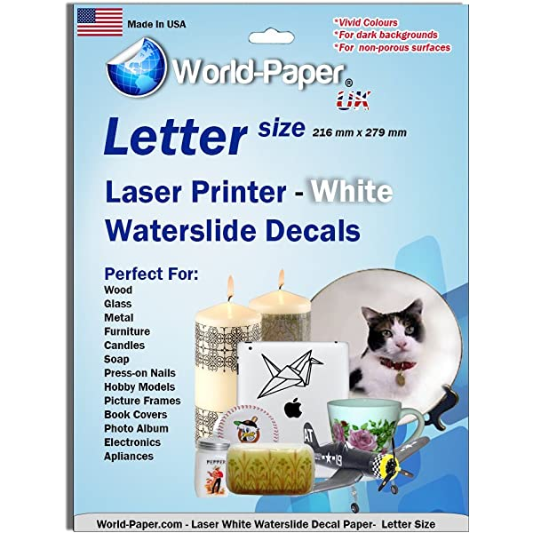 "Blinggasm Waterslide Decal Paper 20 Sheets White For Inkjet Printer 8.5/"" X 11/"""