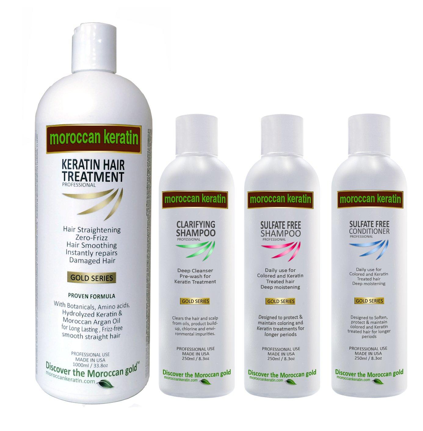 Brazilian Keratin Blowout GOLD SERIES Moroccan Keratin Most Effective Brazilian Keratin Hair Treatment SET 4 bottles 1000ml plus 250ML x3 Professional Salon Formula Shipping Available Worldwide
