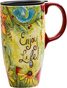 CEDAR HOME Coffee Ceramic Mug Porcelain Latte Tea Cup With Lid 17oz. Enjoy Life