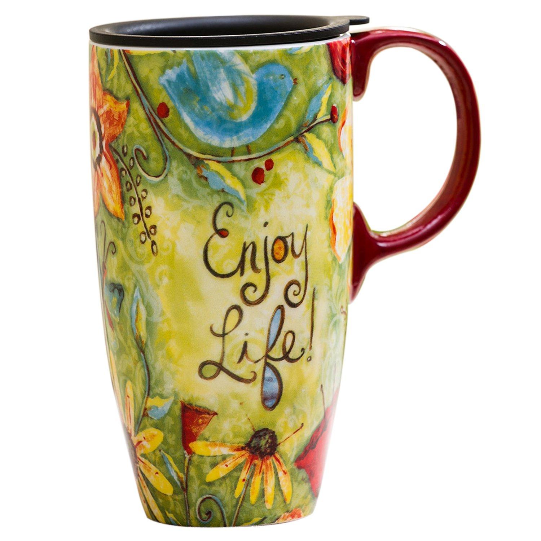 CEDAR HOME Travel Coffee Ceramic Mug Porcelain Latte Tea Cup With Lid 17oz. Enjoy Life